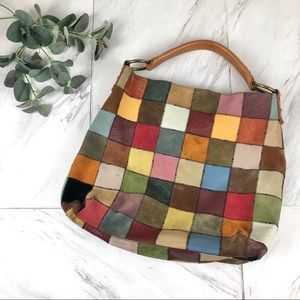 Lucky Brand Patchwork Suede Leather Hobo Bag